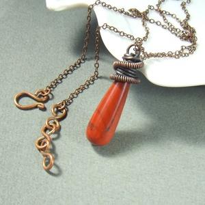 Vörös jáspis réz nyaklánc ásvány ékszer (VeraNasfa) - Meska.hu