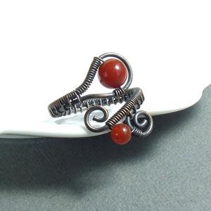 Karneol gyöngyös gyűrű antikolt réz ékszer (VeraNasfa) - Meska.hu