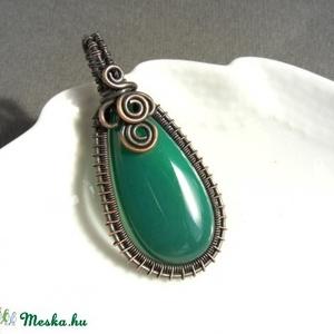 Smaragd zöld réz nyaklánc zöld üveg ékszer (VeraNasfa) - Meska.hu
