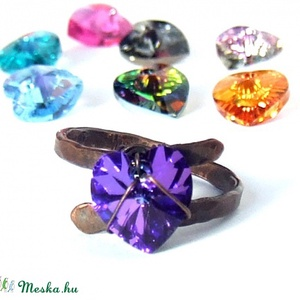 Rusztikus szív gyűrű, romantikus Swarovski kristály ékszer (VeraNasfa) - Meska.hu