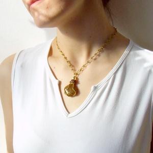 Karamel barna üveg medál sárgaréz nyaklánc (VeraNasfa) - Meska.hu