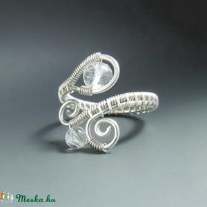 Hegyi kristály gyöngyös gyűrű ezüst színű hegyikristály ásvány ékszer (VeraNasfa) - Meska.hu