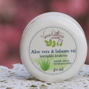 Aloe vera és babassu vaj bőrtápláló  kézkrém, Szépség(ápolás), Táska, Divat & Szépség, Kozmetikum, Férfiaknak, Borotva, szappan, pipere, Kozmetikum készítés, 50ml\n\nHa zordra fordul az idő, kezünk rögtön nagyobb igénybevételnek van kitéve. A szél, a hideg, me..., Meska