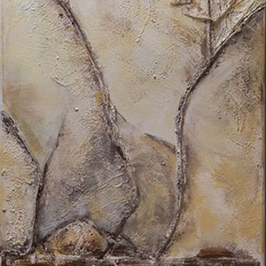 Ég és föld, Képzőművészet, Vegyes technika, Festmény, Akril, Festészet, Vegyes technikával készült absztrakt festmény, 40x120 cm. Felülete rusztikus, térhatású. A természe..., Meska