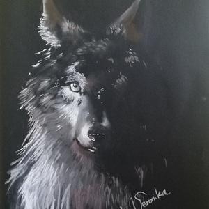 Farkas az árnyékban, Otthon & lakás, Képzőművészet, Festmény, Pasztell, Festészet, Lelked mélyén magányos farkas vagy? Vagy inkább a falka szelleme vonz? Egyszerűen csak csodálod, és ..., Meska