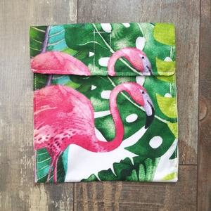 Flamingós szendvics bugyor, vízálló belsővel, Ovi- és sulikezdés, Uzsonna- & Ebéd tartó, Szendvics csomagoló, Varrás, Meska