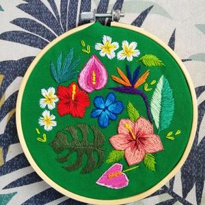 Trópusi virágok - hímzett kép, Művészet, Textil, Hímzés, Meska