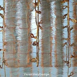 Aranyokker-zöld finom hosszcsíkos sál tavaszra, nyárra, őszre / 9I-084, Ruha, divat, cipő, Kendő, sál, sapka, kesztyű, Sál, Női ruha, Varrás, Könnyű, tépett, pamut-viszkóz textil összeállításával, valamint csomózott
