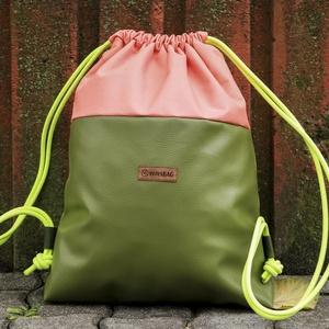 Pink-olív hátizsák (gymbag), Táska, Divat & Szépség, Táska, Hátizsák, Varrás, A táska alsó része textilbőrből, felső része gyöngyvászonból készült, így bizonyos fokig vízálló.\nBe..., Meska