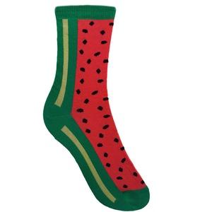 Görögdinnyés zokni, Ruha & Divat, Cipő & Papucs, Zokni, Fotó, grafika, rajz, illusztráció, Kötés, Ha valaha felmerült, hogy egy görögdinnye mintázatú zoknit hordjál a lábadon... most már van ilyenre..., Meska