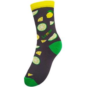 Citromos-lime-os zokni, Ruha & Divat, Cipő & Papucs, Zokni, Fotó, grafika, rajz, illusztráció, Kötés, Lime- és citromszeletekkel mintázott zokni. Garantáltan nem savanyú, ellenben nagyon látványos, üde ..., Meska