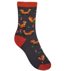 Cuki rókamintás zokni, Ruha & Divat, Cipő & Papucs, Zokni, Fotó, grafika, rajz, illusztráció, Kötés, Cukin mosolygó, vidáman szökkenő rókákkal mintázott boka zokni, erdei gombákkal és fűcsomókkal díszí..., Meska