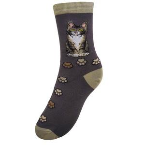Elbűvölt cica, Ruha & Divat, Cipő & Papucs, Zokni, Fotó, grafika, rajz, illusztráció, Kötés, Türelmesen várakozó, elbűvölt cicát ábrázoló zokni, akit a tekintetéből ítélve jó eséllyel egy tál m..., Meska