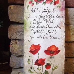 """Festett Áldás, Házi áldás, Spiritualitás & Vallás, Otthon & Lakás, Festett tárgyak, \""""Boldogasszony lánya legyél,\nÁldást hozzál, Áldást vigyél.\""""\n\n/ magyar népdal /\n\nAz áldások festését ..., Meska"""