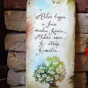 """Festett Áldás (százszorszép), Képzőművészet, Otthon & lakás, Festmény, Lakberendezés, Falikép, Festett tárgyak, \""""Boldogasszony lánya legyél,\nÁldást hozzál, Áldást vigyél.\""""\n\n/ magyar népdal /\n\nAz áldások festését ..., Meska"""
