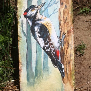 Festett madaras cserepek (nagy), Akril, Festmény, Művészet, Festett tárgyak, Úgy ahogyan a növények, az állatok is külön színvilágot hoznak az életünkbe.\nCserepeinken madarak, r..., Meska