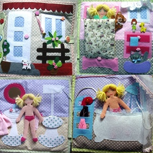 Textil öltöztető babakönyv, Játék & Gyerek, Textilkönyv & Babakönyv, Varrás, A hagyományos papír öltöztető-babák új generációja textilből. Az egyes lapokon a kisgyerek eljátszha..., Meska