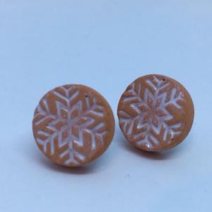 Kör alakú kerámia fülcsik hópehely mintával (Veronik74) - Meska.hu