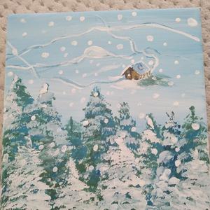 Havas erdő, Művészet, Festmény, Akril, Festett tárgyak, 20×20-as feszített vászonra, akril festékkel készítettem el ezt a kis festményt!\n, Meska