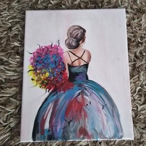 Lány a csokorral, Művészet, Festmény, Akril, Festett tárgyak, 25x30-as feszített vászonra festettem meg ezt a képet akril festékkel!\nJó nézelődést! :) , Meska