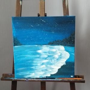 Éjszakai tengermorajlás, Művészet, Festmény, Akril, Festészet, 40x40-es feszített vászonra festettem meg ezt a képet akril festékkel. \nKépeimet többféle méretben k..., Meska