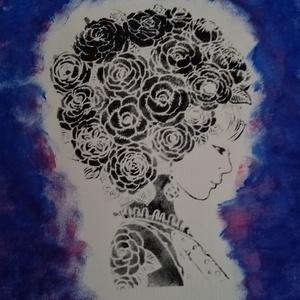 Virág lány, Művészet, Festmény, Akril, Festészet, 30x40-es méretű feszített vászonra készítettem el ezt a képet akril festékkel!\nFantázia kép. :) ..., Meska