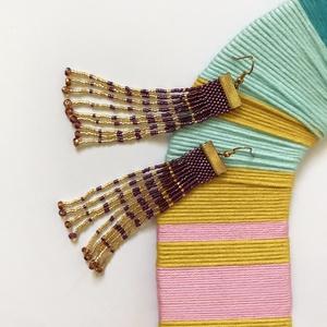 Lila-arany fülbevaló, Ékszer, Fülbevaló, Ékszerkészítés, Gyöngyfűzött fülbevaló myukiból.  \n\n100% handmade, Meska