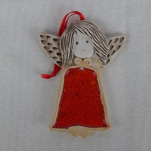 Kerámia angyalka, Karácsony, Ünnepi dekoráció, Dekoráció, Otthon & lakás, Karácsonyi dekoráció, Kerámia, 10 cm magas kerámia angyalka. Felakasztható, de a szalag levehető, a luk nem látható., Meska