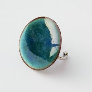 Tűzzománc nemesacél gyűrű - nemesacél gyűrű - tűzzománc gyűrű- kék színek - kék gyűrű - modern gyűrű, Ékszer, Gyűrű, Tűzzománc, Fémmegmunkálás, GALAXY GYŰRŰ\n\nGyönyörű színekben pompázó tűzzománc gyűrű nemesacél gyűrű alappal.\n\nA tűzzománc kör á..., Meska