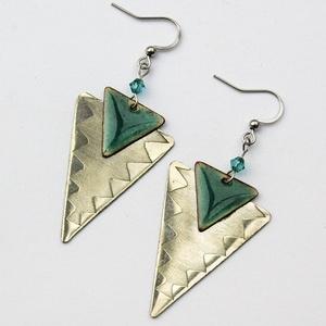 Tűzzománc - alpakka fülbevaló - türkizkék és ezüst színek - ezüst türkiz fülbevaló - háromszög fülbevaló (VIANdesign) - Meska.hu