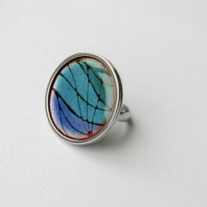 Tűzzománc nemesacél gyűrű - nemesacél gyűrű - tűzzománc gyűrű - kék színek - kék gyűrű - modern gyűrű, Ékszer, Gyűrű, Tűzzománc, Fémmegmunkálás, KÉK mintás tűzzománc gyűrű\n\nGyönyörű színekben pompázó tűzzománc gyűrű nemesacél gyűrű alappal. 3 kü..., Meska