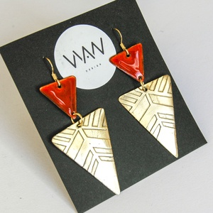 Tűzzománc - sárgaréz fülbevaló - arany és narancs színek - narancs / piros arany fülbevaló - modern ékszer (VIANdesign) - Meska.hu