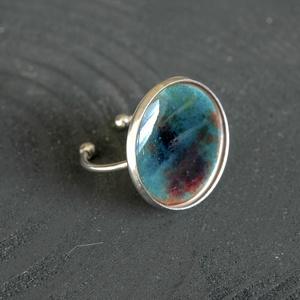 Tűzzománc nemesacél gyűrű - nemesacél gyűrű - tűzzománc gyűrű- türkiz barna színek - modern gyűrű - türkiz gyűrű, Ékszer, Gyűrű, Tűzzománc, Fémmegmunkálás, GALAXY GYŰRŰ\n\nGyönyörű színekben pompázó tűzzománc gyűrű nemesacél gyűrű alappal.\n\nA kör átmérője 22..., Meska