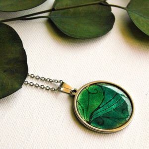 Zöld - türkiz tűzzománc medál - ezüst, türkiz és zöld színek - modern nyaklánc - zöld türkiz ezüst nyaklánc nemesacéllal, Ékszer, Nyaklánc, Fémmegmunkálás, Tűzzománc, Tűzzománc nyaklánc zöld és türkiz színekkel, különleges mintával, nemesacél alapban, nemesacél láncc..., Meska