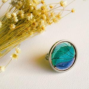 Tűzzománc nemesacél gyűrű - nemesacél gyűrű - tűzzománc gyűrű - kék színek - kék gyűrű - modern gyűrű, Statement gyűrű, Gyűrű, Ékszer, Tűzzománc, Fémmegmunkálás, KÉK mintás tűzzománc gyűrű\n\nGyönyörű színekben pompázó tűzzománc gyűrű nemesacél gyűrű alappal. 3 kü..., Meska