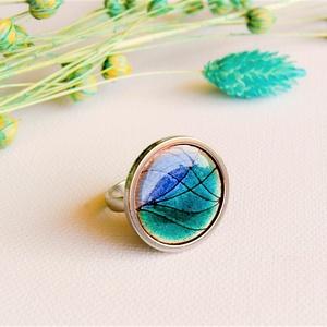 Türkizkék tűzzománc nemesacél gyűrű - nemesacél gyűrű - türkiz gyűrű - különböző kék árnyalatok, Ékszer, Gyűrű, Tűzzománc, Fémmegmunkálás, Gyönyörű élénk türkizkék / kék / világoskék színben pompázó tűzzománc gyűrű nemesacél gyűrű alappal,..., Meska