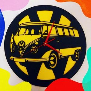 Volkswagen T1 falióra, Otthon & lakás, Lakberendezés, Falióra, óra, Festett tárgyak, Famegmunkálás, A legendás Volkswagen T1, falióra verzióban. \n\nAz óra 3mm vastag HDF lemezből került kivágásra, átmé..., Meska
