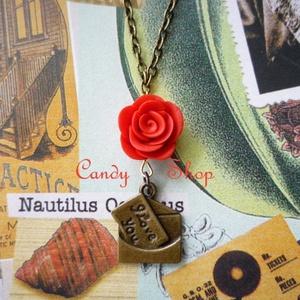 Antik rózsás szerelmes levél - ékszer - nyaklánc - medál - Meska.hu