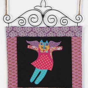 Fali textil dekoráció macskaangyalokkal (vighilda) - Meska.hu
