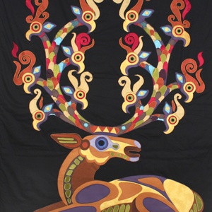 Csodaszarvas falitextil, Egyéb, Textil, Művészet, Patchwork, foltvarrás, Varrás, Központi darabja volt egy idei kiállításnak. Errel a gyönyörű  szarvasra  egy kifestőkönyvben talált..., Meska