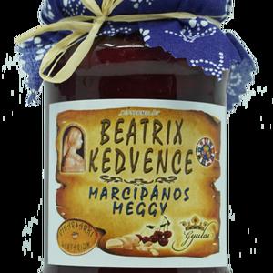 Beatrix kedvence – meggydzsem marcipánnal, Kulinária (élelmiszer), Lekvár, Élelmiszer előállítás, Összetevők:\nmeggy , cukor (16%), marcipán massza, sűrűsítő: Stabark növényi sűrűsítő , tartósítószer..., Meska
