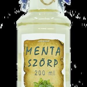Menta szörp (200 ml), Szörp, Élelmiszer, Élelmiszer előállítás, Összetevők:\nvíz, cukor, mentalevél, étkezési sav: citromsav, tartósítószer: kálium-szorbát..., Meska