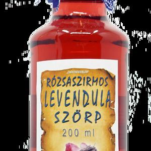 Rózsaszirmos levendulavirág szörp (200 ml), Élelmiszer, Szörp, Összetevők:  víz, cukor, bodzabogyó, rózsaszirom, levendulavirág, étkezési sav: citromsav, tartósító..., Meska