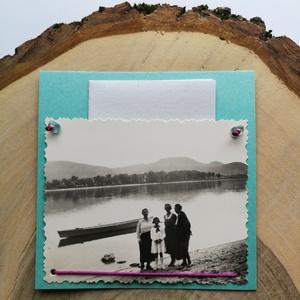 Üdvözlőkártya régi fotóval - verőcei Duna-part, Művészet, Fotográfia, Ékszerkészítés, Papírművészet, 9*9 cm-es üdvözlőkártya 6*9 cm-es felvarrott fotóval. A kép régi, eredeti, a verőcei Duna-parton kés..., Meska