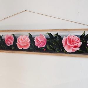 fali kulcsakasztó vintage díszítéssel, Otthon & Lakás, Dekoráció, Festett tárgyak, Dekoráció és funkció. Fali kulcsakasztót készítettem deszkából, romantikus rózsa motívumokkal, kézze..., Meska