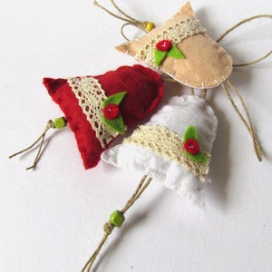 Filc harangok, Karácsony & Mikulás, Karácsonyi dekoráció, Varrás, Pihe- puha színes harangok.\n \n \n\n\n, Meska