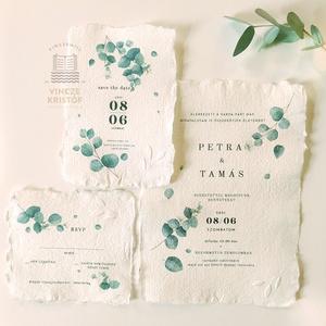 EUKALIPTUSZ Esküvői meghívó, Save the Date, RSVP, Köszönő kártya, Boríték, Menülap, Itallap,  merített papíron, Esküvő, Meghívó & Kártya, Papírművészet, Eukaliptusz stílusú, különleges Esküvői meghívó szett\n\nAnyag: fehér, kézzel merített papír, cakkos s..., Meska