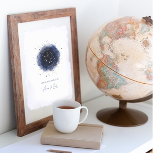 Névre szóló Csillagkép aquarell print, merített papíron, páros vagy egyéni plakát, gyillagjegy, horoszkóp, fali dekor, Otthon & Lakás, Lakberendezés, Papírművészet, Festészet, Páros vagy egyéni, személyre szabott, aquarell csillagkép.\n\nA szöveget kedved szerint szerkesztjük (..., Meska