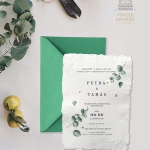 EUKALIPTUSZ Esküvői meghívó merített papíron borítékkal...Save the Date, RSVP, Köszönőkártya, Menülap, Itallap, Esküvő, Meghívó & Kártya, Papírművészet, Eukaliptusz stílusú, merített papíron, különleges esküvői meghívó borítékkal\nA papírtermékek vakdomb..., Meska