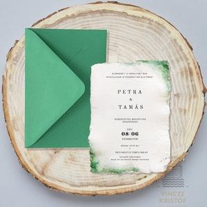 """AQUARELL MOHA Esküvői meghívó merített papíron+boríték...Save the Date, RSVP, Köszönőkártya, Menülap, Itallap, Esküvő, Meghívó & Kártya, Papírművészet, Festészet, Eredeti aquarell \""""Moha\"""" stílusú, különleges Esküvői meghívó borítékkal\n\nMEGHÍVÓ: fehér, kézzel merít..., Meska"""